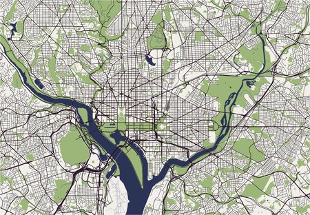 Map of the city of Washington D.C., USA vector illustration.