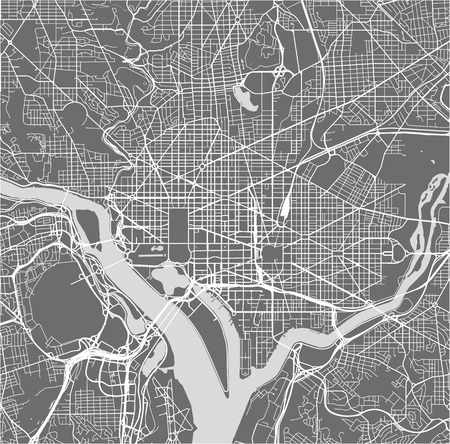 Map of the city of Washington, D.C., USA vector illustration.