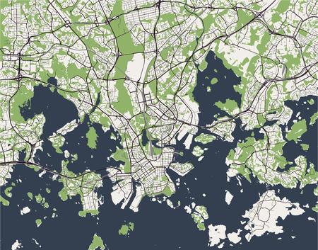 Karte der Stadt von Helsinki, Finnland Vektorillustration.