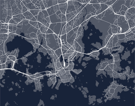 Map of the city of Helsinki, Finland vector illustration.