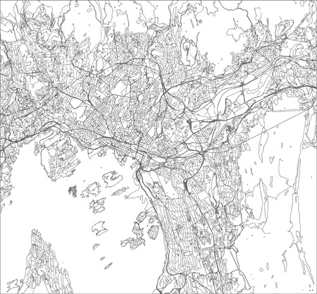 map of the city of Oslo, Norway Illustration