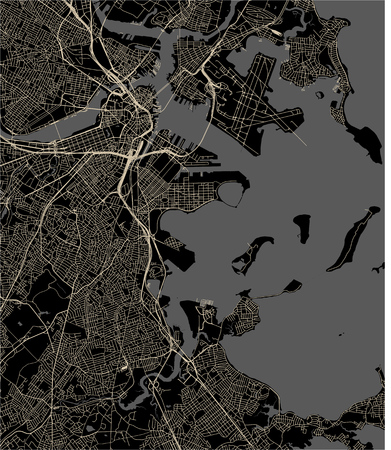 vector map of the city of Boston, USA 矢量图像