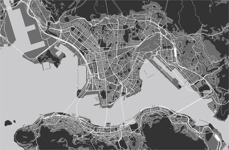 Mapa de vectores de la ciudad de Hong Kong, Región Administrativa Especial de la República Popular China Ilustración de vector
