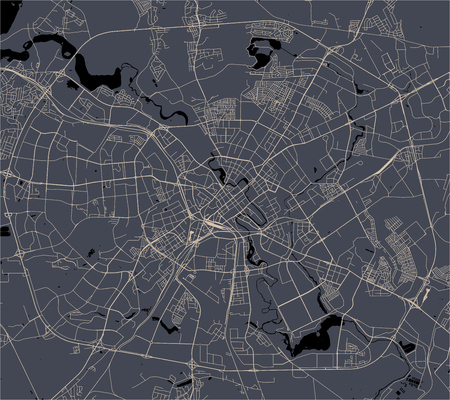 vector map of the city of Minsk, Belarus