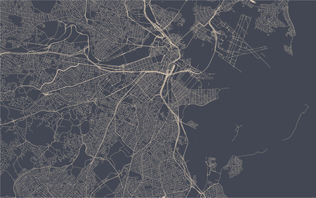 vector map of the city of Boston, USA  イラスト・ベクター素材