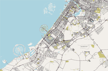vector map of the city of Dubai, United Arab Emirates (UAE), Dubai-Sharjah-Ajman metropolitan area Ilustrace