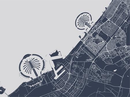 vector map of the city of Dubai, United Arab Emirates (UAE), Dubai-Sharjah-Ajman metropolitan area Иллюстрация