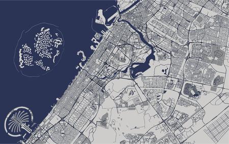 Mapa de vectores de la ciudad de Dubai, Emiratos Árabes Unidos (EAU), área metropolitana de Dubai-Sharjah-Ajman