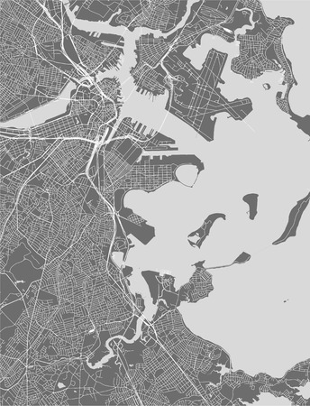 vector map of the city of Boston, USA Illustration
