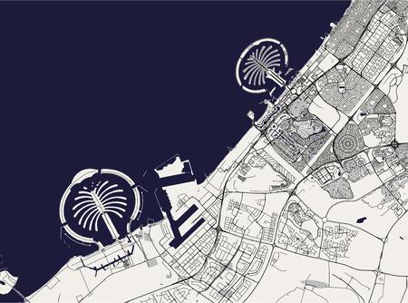 Mapa vectorial de la ciudad de Dubai, Emiratos Árabes Unidos (EAU), área metropolitana de Dubai-Sharjah-Ajman
