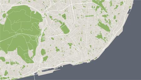vector map of the city of Lisbon, Portugal 免版税图像 - 106930030