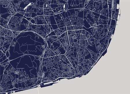 vector map of the city of Lisbon, Portugal