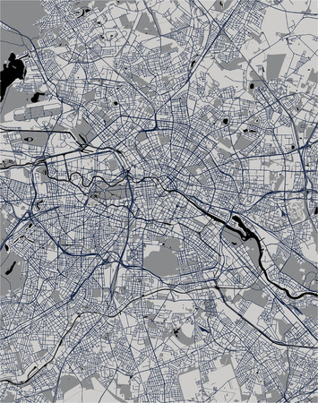 Carte vectorielle de la ville de Berlin, Allemagne