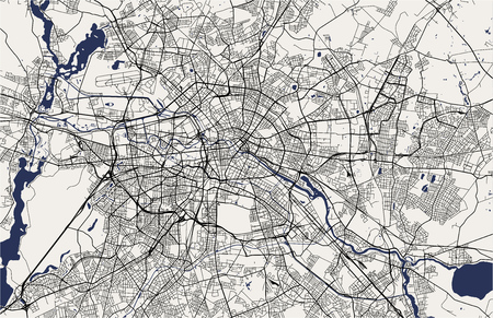 vector kaart van de stad Berlijn, Duitsland