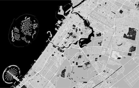 vector map of the city of Dubai, United Arab Emirates (UAE), Dubai-Sharjah-Ajman metropolitan area Illustration