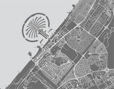 Mapa vectorial de la ciudad de Dubai, Emiratos Árabes Unidos (EAU), área metropolitana de Dubai-Sharjah-Ajman Ilustración de vector