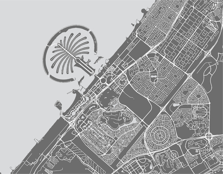 vector map of the city of Dubai, United Arab Emirates (UAE), Dubai-Sharjah-Ajman metropolitan area Çizim