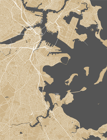 vector map of the city of Boston, USA Stock Illustratie