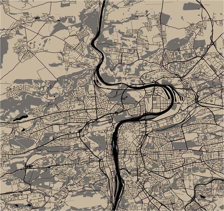 vector map of the city of Prague, Czech Republic
