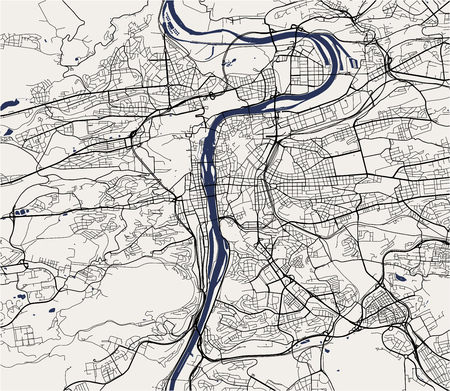 vector map of the city of Prague, Czech Republic