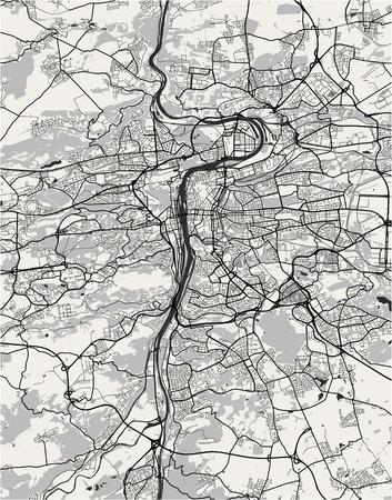 Vektorkarte der Stadt Prag, Tschechische Republik Vektorgrafik
