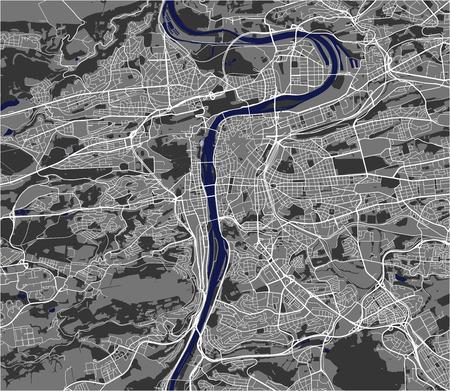 Vektorkarte der Stadt Prag, Tschechische Republik