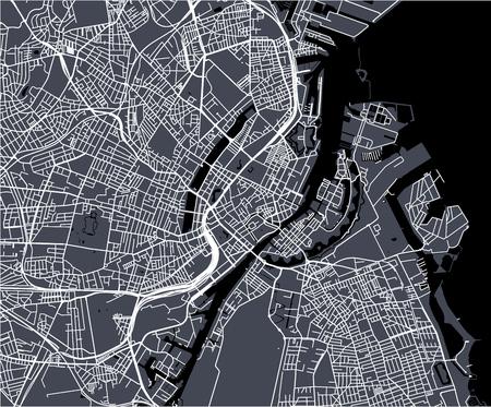 Vektorkarte der Stadt Kopenhagen, Dänemark