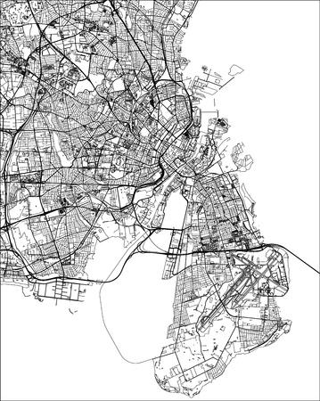 Vektorkarte der Stadt Kopenhagen, Dänemark Vektorgrafik