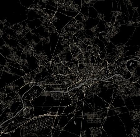 map of the city of Frankfurt am Main, Hesse, Germany