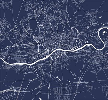 vector map of the city of Frankfurt am Main, Hesse, Germany Illusztráció