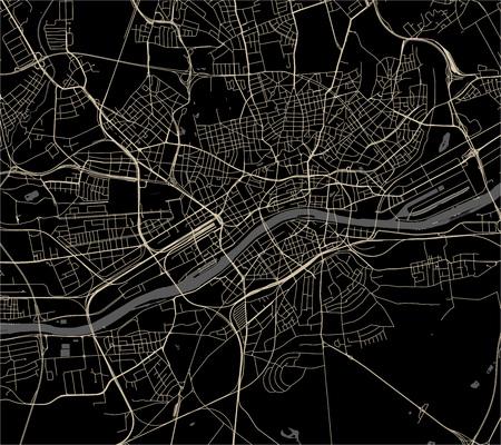 vector map of the city of Frankfurt am Main, Hesse, Germany Ilustração