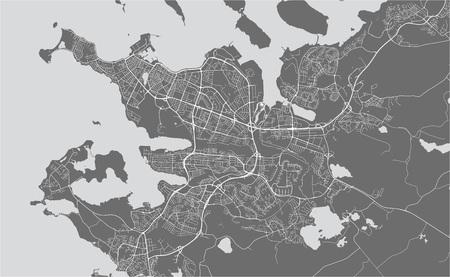 illustration map of the city of Reykjavik, Capital Region, Iceland Stock Vector - 127703141