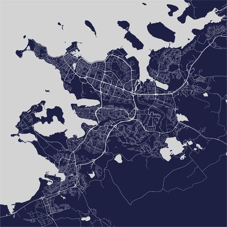 illustration map of the city of Reykjavik, Capital Region, Iceland