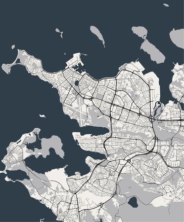 illustration map of the city of Reykjavik, Capital Region, Iceland Vektorové ilustrace