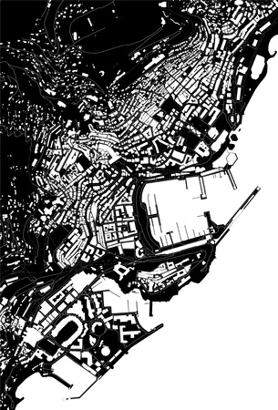 vector map of the city of Principality of Monaco, French Riviera