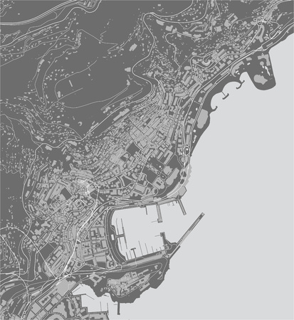 map of the city of Principality of Monaco, French Riviera