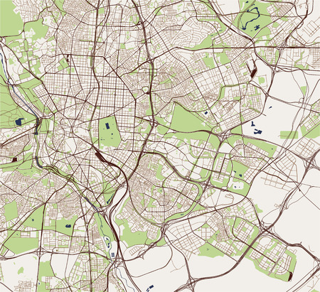 vector map of the city of Madrid, Spain