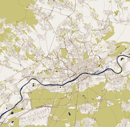 vector map of the city of Frankfurt am Main, Hesse, Germany