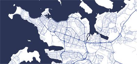 illustration map of the city of Reykjavik, Capital Region, Iceland Stock Vector - 127509359