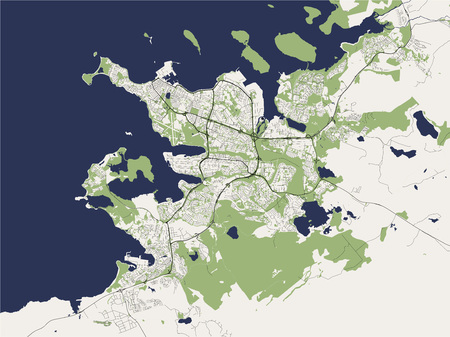 illustration map of the city of Reykjavik, Capital Region, Iceland