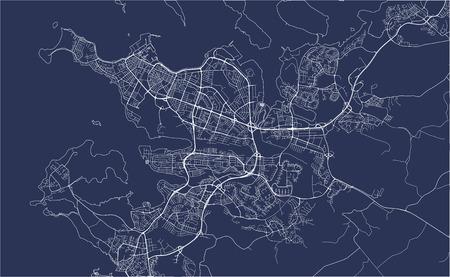 illustration map of the city of Reykjavik, Capital Region, Iceland Stock Vector - 127345705