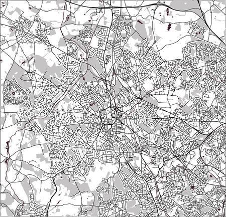 Vector map of the city of Birmingham, Wolverhampton, English Midlands, United Kingdom, England Stock Vector - 127315291