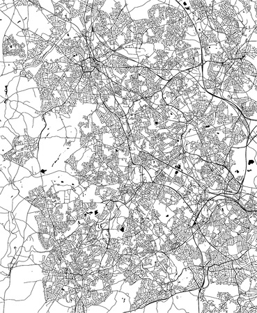 Vector map of the city of Birmingham, Wolverhampton, English Midlands, United Kingdom, England