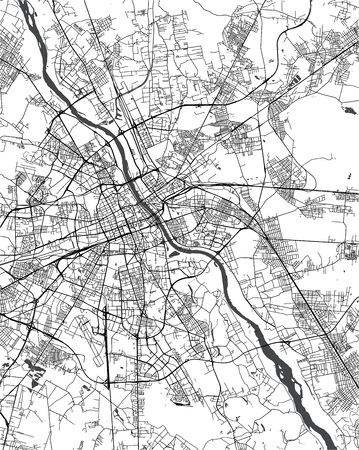 Vector map of the city of Warsaw, Poland Illusztráció