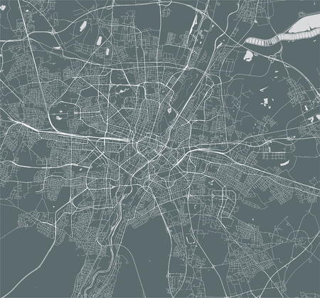 vector map of the city of Munich, Bavaria, Germany