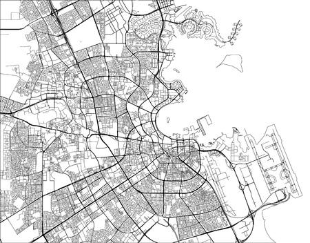 illustration map of the city of Doha, Qatar Illustration