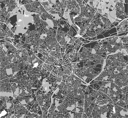 Vector map of the city of Birmingham, Wolverhampton, English Midlands, United Kingdom, England