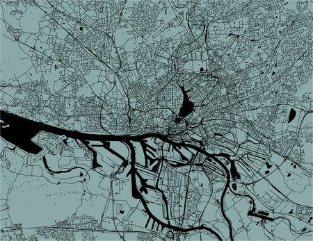map of the city of Hamburg,, Germany