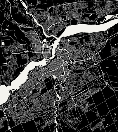 Vector map of the city of Ottawa, Ontario, Canada Illustration