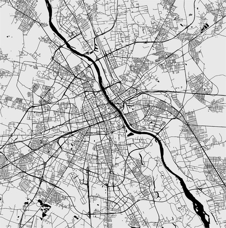 Vector map of the city of Warsaw, Poland Illustration